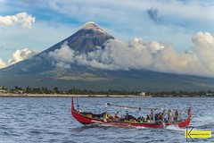 Mayon Volcano (Kostas Trovas) Tags: landscape nature water bicol legazpi philippines clouds fishermen instagram fishingboat pinoytradition filipino banka volcano hdr mayon sky boat sea ultravolcano albay mountain