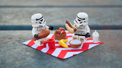 Picnic! (RagingPhotography) Tags: lego star wars stormtroopers storm troopers trooper picnic outside outdoors meal table meals lunch food turkey coffee cup mug drink pie banana cherry cherries chicken hot dog bun plastic toy toys minifigure minifig figures cute funny humor humorous heartwarming interesting smile ragingphotography