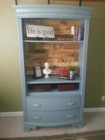 DIY Furniture Plans & Tutorials : Beautiful Armoire repurposed as open bookcase with pallet wood back.https://diypick.com/decoration/furniture/diy-furniture-plans-tutorials-beautiful-armoire-repurposed-as-open-bookcase-with-pallet-wood-back/