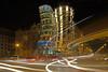 Dancing / Ballando (Dancing Houses, Prague, Czech Republic) (AndreaPucci) Tags: prague czechrepublic andreapucci dancinghouses vladomilunić frankgehry fredandginger traffic night