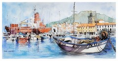 Port Vendres - Occitanie - France (guymoll) Tags: portvendres occitanie frandce croquis sketch aquarelle watercolour watercolor bateaux ships port harbour