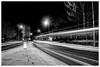 Non-Recyclable (ianrwmccracken) Tags: night blur building street tracks sony evening light tower raeburnheights dark urban scotland tree heights glenrothes ianmccracken trail fife streetlight a6000 footstep bus snow