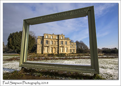 Normanby Hall, Scunthorpe (Paul Simpson Photography) Tags: normanbyhall normanbypark paulsimpsonphotography imagesof imageof photoof photosof sonya77 pictureframe frame statelyhome statelyhouse northlincs northlincolnshire weather snow snowy bluesky grass cold winter february2018 england trees garden formalgardens winterview