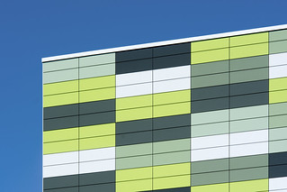 Facade with green panels