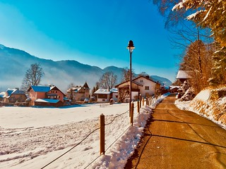 Sunny winter day in Kiefersfelden, Bavaria, Germany