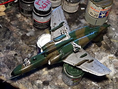 "1:72 Saab Sk 90 Ö, ""5H-SB"", 4th Jet Squadron, Flight Regiment 3, Österreichische Luftstreitkräfte (Austrian Air Force); Fliegerhorst Vogler (Linz-Hörsching), 2010 (Whif/modified Hasegawa kit) - WiP (dizzyfugu) Tags: saab sk 90 195ö österreich luftwaffe luftstreitkräfte austrian air force fliegerhorst vogler linz hörsching sk60 60 trainer advanced reconnaissance swedish sweden fictional aviation model kit modellbau whif whatif kawasaki t4 hasegawa conversion ral 6020 chromoxydgrün 7013 graubraun dizzyfugu"