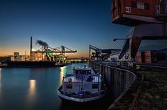 Blue harbor (Norbert Clausen) Tags: thebluehour bluehour blaue stunde hafen harbour kran crane langzeitbelichtung longexposure sonnenuntergang sunset night nacht