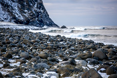 On the beach (Alex Szymanek) Tags: norway lofoten wild beach water waves color canon february 2018 winter cold ice freeze nature landscape secluded simple pebbles rocks violent energy zen clear day light travel wanderlust look watch wind