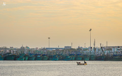 Kasimedu Fishing Harbor (Adithya Ganesan) Tags: kasimedu fishing harbor chennai mychennai tamilnadu india colours evening sunset clouds boats lineup people streets canon eos 2018
