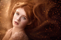 Magic ({jessica drossin}) Tags: jessicadrossin photography redhair redhead freckles texture overlay bokeh braid flowing hair pretty blueeyes wwwjessicadrossincom magical