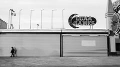 Closed (deepaqua) Tags: brooklyn shadow amusementpark offseason winter coneyisland street blackandwhite lunapark child