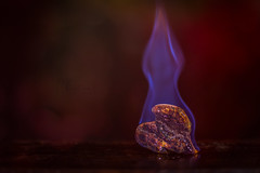 Heartburn! (Christina Draper) Tags: heartburn heart fire flame wood blue burning nikon d500