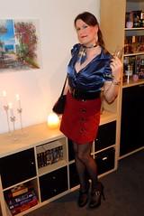 Have a nice weekend! (Rikky_Satin) Tags: silk satin blouse scarf ski skirt highheels pumps pantyhose nylons crossdresser crossdressing transformation mtf m2f feminization femboi tgirl tgurl gurl sissy secretary