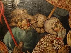 ca. 1425-1435 - 'Crucifixion' (Bernat Despuig & Jaume Cirera), Barcelona, Mullany Haute Epoque Fine art (London), BRAFA, Brussels, Belgium (RO EL (Roel Renmans)) Tags: 1425 1430 1435 crucifixion calvary calvaire kreuzigung kruisiging christus christ jesus jesu bernat despuig jaume cirera barcelona spanish catalan panel gothic painting brafa brussels bruxelles brussel armour armor rüstung kettle helmet barbuta barbute plate mullany haute epoque fine art london spain espagne gotique surcoat armadura hat chapel de fer fair helm armure feather bevor neckplate neck chin giornea