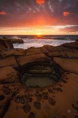 North Avoca Glow (Brian Bornstein) Tags: sunrise northavoca avocabeach waves ocean water northavocabeach sunburst brianbornstein centralcoast rocks seascape centralcoastnsw canon6d clouds nsw