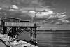 Fishing Hut (lucazagolin) Tags: 7dwf bw clouds docks italy landscape paesaggio sea veneto fishing hut