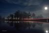 Night Lights (Fredrik Lindedal) Tags: moon moonlight bridge trees reflection reflections lake nikon night nightfall nääs stars lindedal