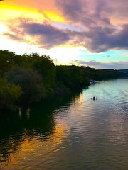 Sky Fall (Cesar's iPhoneography) Tags: iphone7 iphoneseven iphoneography austin texas atx downtown ioatx zilkerpark sunset settingsun pastel colors clouds cloudy tree water boat river landscape kayaking waterreflection coloradoriver