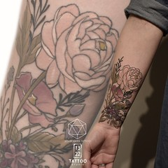 Botanical Coverup Tattoo (13.22 Tattoo Studio) Tags: mr j best sourgrapestattoo tattoo london nw6 art single needle fineline thin 1322 studio artist custom coverup detailed botanical flower nouveau peony