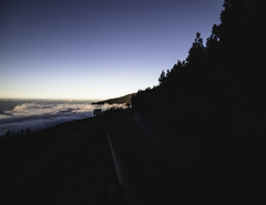 TF-21 (JOLIVETV) Tags: spain islas canarias tenerife mountains road trees sunset clouds cloudy fog afternoon blue sky night shadows canon 6d mark ii wide angle tokina moody darkness alone