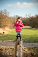 Shorne Woods, England (David Claringbold) Tags: nikon d750 tamron 2470 lightroom raw shorne woods england kingdom kent united girl child posing smile smiling standing vibrant colour color park adventure post beam high tall winter cold coat jacket laugh balance balancing jump playground