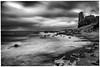 Dunure, South Ayrshire, Scotland (Stuart Allan38) Tags: iamnikon nikon1685 nikond7100 dunurecastle dunure seashore seascape roughseas atmosphere atmospheric bw monochrome mono mood longexposure le leefilters castle scottish scotland southayrshire bigstopper