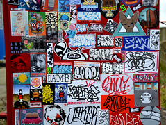 stickercombo (wojofoto) Tags: amsterdam graffiti streetart netherland nederland holland ndsm wojofoto wolfgangjosten wojo stickers sticker stickercombo stickerart gingergunshot