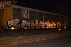 ICHABOD (TheGraffitiHunters) Tags: graffiti graff spray paint street art colorful freight train tracks benching benched night time ichabod ich autorack e2e end