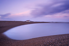 Alone. (Andy Bracey -) Tags: bracey andybracey andybraceyphotography suffolk shinglestreet beach pebbles sea water landscape seascape longexposure leefilters cottage coast coastal sunset pink nearlymissedit poorplanning milky smooth alone contemplating aplacetoreflect
