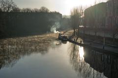 Winter morning at Riverside (The^Bob) Tags: avon river bath riverside winter morning mist smoke longboat england