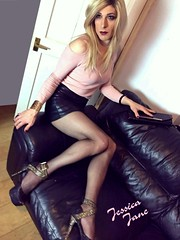 Legs On Leather (jessicajane9) Tags: tg crossdress tranny lgbt travesti xdress tgurl cd transgender crossdressing trans feminization crossdresser tgirl tv transvestite tights pantyhose