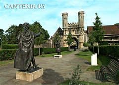 postcard - from frewen, Germany 1 (Jassy-50) Tags: postcard postcrossing canterbury kent england greatbritain uk staugustinesabbeygatehouse staugustinesabbey gatehouse statue sculpture bench abbey church unescoworldheritagesite unescoworldheritage unesco worldheritagesite worldheritage whs