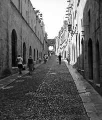 In the footsteps of Knights (big_jeff_leo) Tags: old medieval europe island stone cobbles bw knight rhodes greek greece