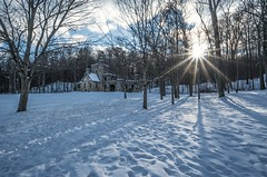 Winter sun setting at Squire's Castle. (arthuroleary) Tags: castle ohio cleveland squirescastle park metropark midwest snow january cold sonya6500 sony1018mm