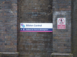Bilston Central Tram Stop - Hall Street, Bilston - sign - Platform for Trams to Birmingham