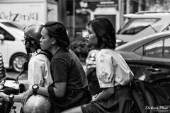 Riding in threes (gunman47) Tags: 2017 asia asian b bw bangkok christmas december east mono monochrome sepia siam south thai thailand w black motorbike motorcycle passenger people photography rider street student traffic white krungthepmahanakhon girl