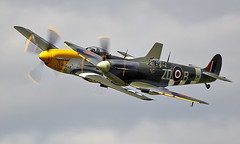 Mustang & Spitfire (Bernie Condon) Tags: mustang northamerican usaaf military us warplane vintage preserved classic fighter ww2 p51 aircraft plane flying aviation vickers supermarine spitfire raf royalairforce fightercommand battleofbritian