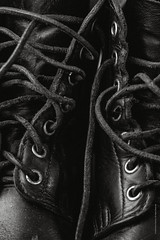 Military Boots (imagomagia) Tags: composition art closeup bnw artofvisual boots artphoto naturallight macro 105mmnikkor bwconversiontechnique monochrome forms noiretblancphotographie leather xe1 blackandwhite naturamorta form noiretblancblancphotographie blackandwhitephotography