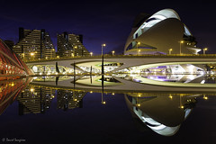 C.A.S. Reflections. (dasanes77) Tags: canoneos6d canonef1635mmf4lisusm tripod landscape cityscape cloudscape night bluehour cityofartandsciences city lights lake water reflections shadows valencia architecture modern futuristic bridge palaudelesartsreinasofía symmetry