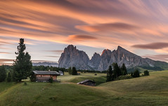 Sunrise at Alpe di Siusi (Dreamy Pixel) Tags: alm alpe alpine alps austria autumn background beautiful building di dolomite europe famous hiking hill italian italy landscape light meadow morning mountain national natural nature outdoor park popular recreation resort rock scenery scenic schlern sciliar seiser siusi south suisi summer sunrise sunset tirol tourism tourist travel vacation valley view wooden ngc