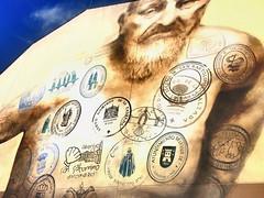 Pilgrimm stamps tattoo (winterade) Tags: graffiti caminodesantiago logroño himmel jakobsweg jamesway architecture tattoo spain spanien pilgrim pilger painting facade fassade architektur
