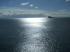 "The deep blue sea. Isla Benidorm included. (Bennydorm) Tags: horizon view scenic vacation holidays ""bluesky"" sky clouds weather sunshine sunny europe espana spain valencia benidorm fujifinepix january isle isla island water blue ocean sea"