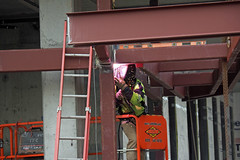 Welding for Fun (PDX Bailey) Tags: welding welder working workman hardhat building construction ladder arc light level beam crossbeam cross chain oregon portland pdx industry industrial