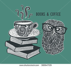 Owl and books (eka panova) Tags: owl illustration cartoon vector funny label cute cafe book bird smart clever cup tea coffee shutterstock animal hipster eka panova pattern sale logo zentangle doodle ink creative glasses eyeglasses look hot