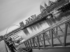 The River Tyne. (CWhatPhotos) Tags: black white mono monochrome sage bridge millennium millenniumbridge crossing span river tyne looking up sky skies photographs photograph pics pictures pic picture image images foto fotos photography artistic cwhatphotos that have which with contain gateshead wear north east england uk newcastle upon jetty swing water reflection reflections olympus penf pen f micro four thirds 43 camera 17mm f18 prime zuiko lens