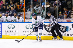 "Kansas City Mavericks vs. Florida Everblades, February 18, 2018, Silverstein Eye Centers Arena, Independence, Missouri.  Photo: © John Howe / Howe Creative Photography, all rights reserved 2018 • <a style=""font-size:0.8em;"" href=""http://www.flickr.com/photos/134016632@N02/40342825152/"" target=""_blank"">View on Flickr</a>"