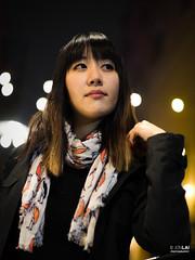 Sara (jonlai.photo) Tags: street scarf jacket yellow light portrait night neon seattle pike place female girl