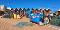 Fishermen Huts (xplr) (anj_p) Tags: praiadearmaçãodepera portugal praiadedourada fishermenhuts boat nets beach algarve