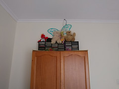 09Jan18 Super Elmo, Tweety and two bears and a pair of butterfly wings (doesn't everyone have a pair?) now atop my wardrobe along with very rarely used CDs.