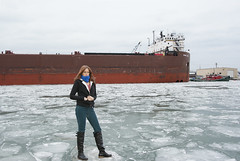 Ice Breaker (marylee.agnew) Tags: ice lake ship standing breaking water winter danger people cold
